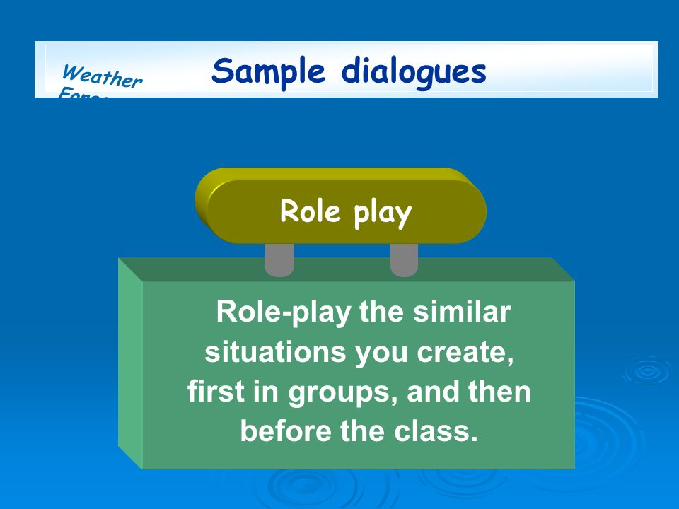 Weather Forecast Sample dialogues Role-play the similar situations you create, first in groups, and then before the class. Role play