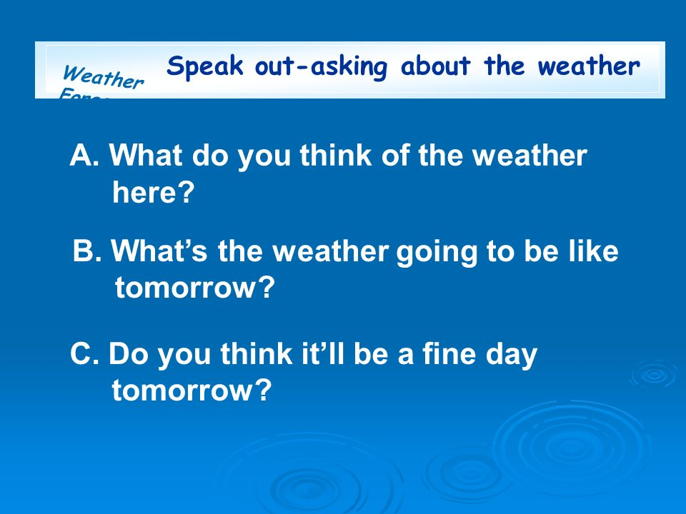 Weather Forecast Speak out-asking about the weather A. What do you think of the weather here? B. Whats the weather going to be like tomorrow? C. Do yo