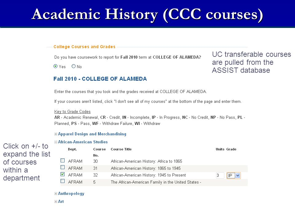 Academic History (CCC courses) UC transferable courses are pulled from the ASSIST database Click on +/- to expand the list of courses within a department