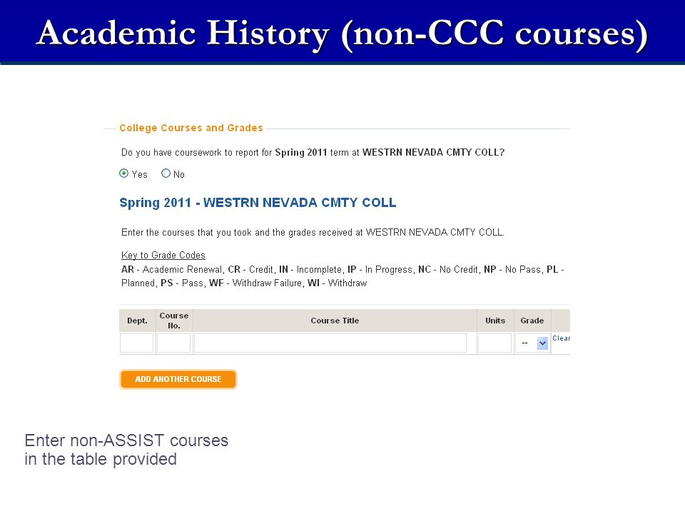 Academic History (non-CCC courses) Enter non-ASSIST courses in the table provided