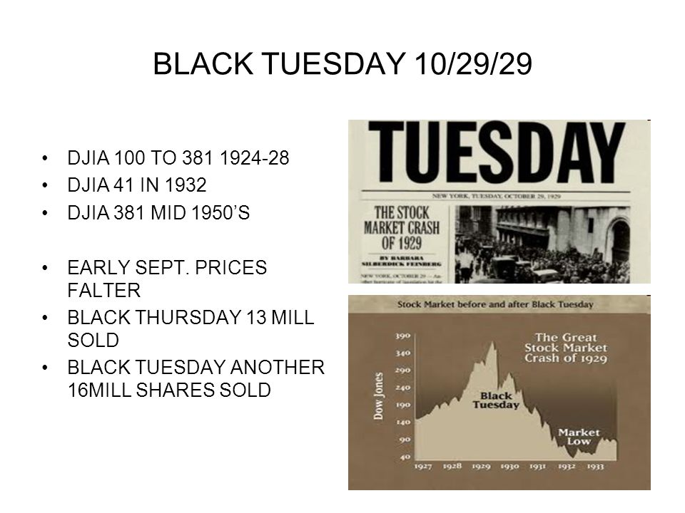 BLACK TUESDAY 10/29/29 DJIA 100 TO 381 1924-28 DJIA 41 IN 1932 DJIA 381 MID 1950S EARLY SEPT. PRICES FALTER BLACK THURSDAY 13 MILL SOLD BLACK TUESDAY