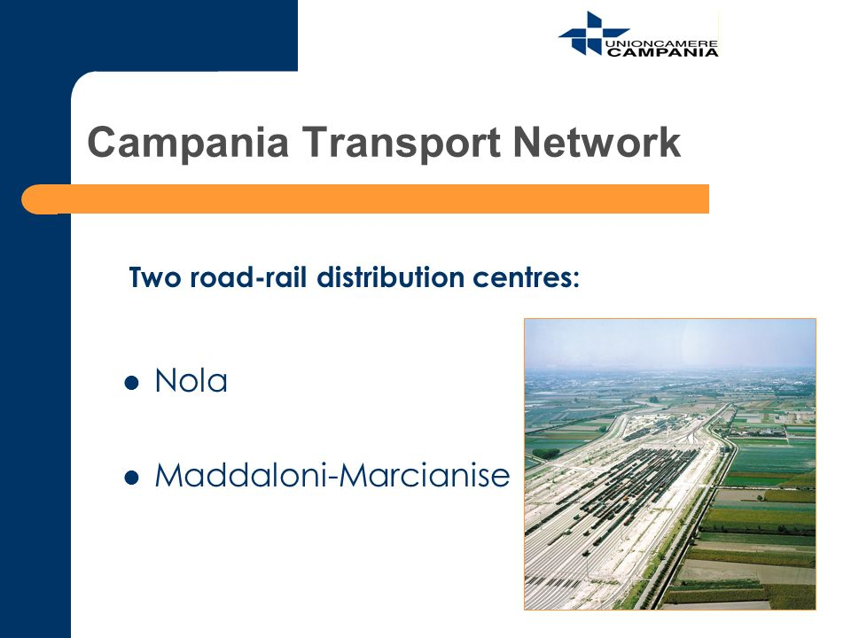Campania Transport Network Nola Maddaloni-Marcianise Two road-rail distribution centres: