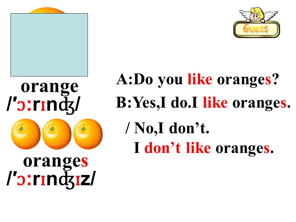 orange oranges A:Do you like oranges? B:Yes,I do.I like oranges. / No,I dont. I dont like oranges. /ɔ:rɪnʤ//ɔ:rɪnʤ/ / ɔ :r ɪ n ʤɪ z/