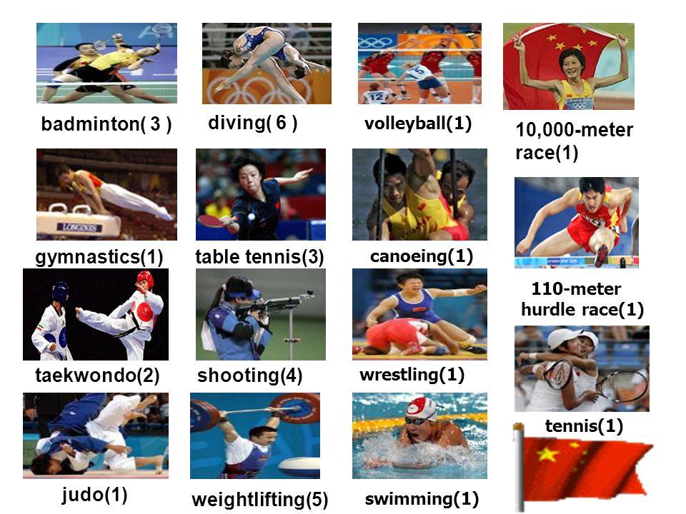 tennis(1) badminton( 3 ) diving( 6 ) taekwondo(2) table tennis(3) 10,000-meter race(1) gymnastics(1) judo(1) 110-meter hurdle race(1) shooting(4) weightlifting(5) volleyball(1) canoeing(1) wrestling(1) swimming(1)