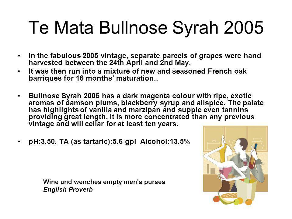 Te Mata Bullnose Syrah 2005 In the fabulous 2005 vintage, separate parcels of grapes were hand harvested between the 24th April and 2nd May.