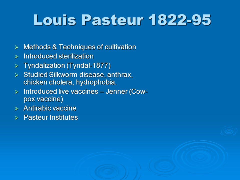 Louis Pasteur 1822-95 Methods & Techniques of cultivation Methods & Techniques of cultivation Introduced sterilization Introduced sterilization Tyndal