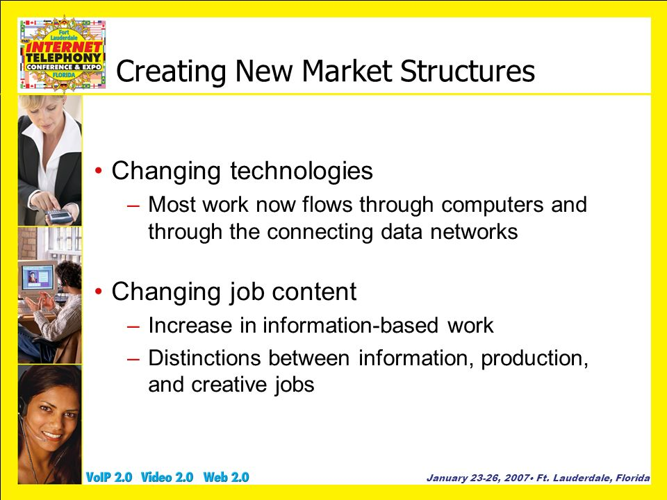 January 23-26, 2007 Ft. Lauderdale, Florida Creating New Market Structures Changing technologies –Most work now flows through computers and through th