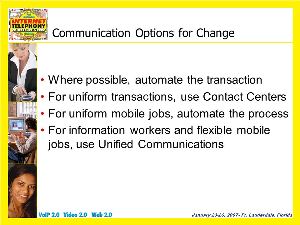 January 23-26, 2007 Ft. Lauderdale, Florida Communication Options for Change Where possible, automate the transaction For uniform transactions, use Co