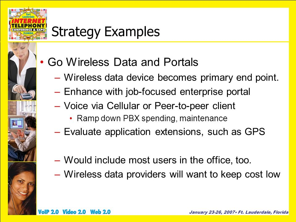 January 23-26, 2007 Ft. Lauderdale, Florida Strategy Examples Go Wireless Data and Portals –Wireless data device becomes primary end point. –Enhance w