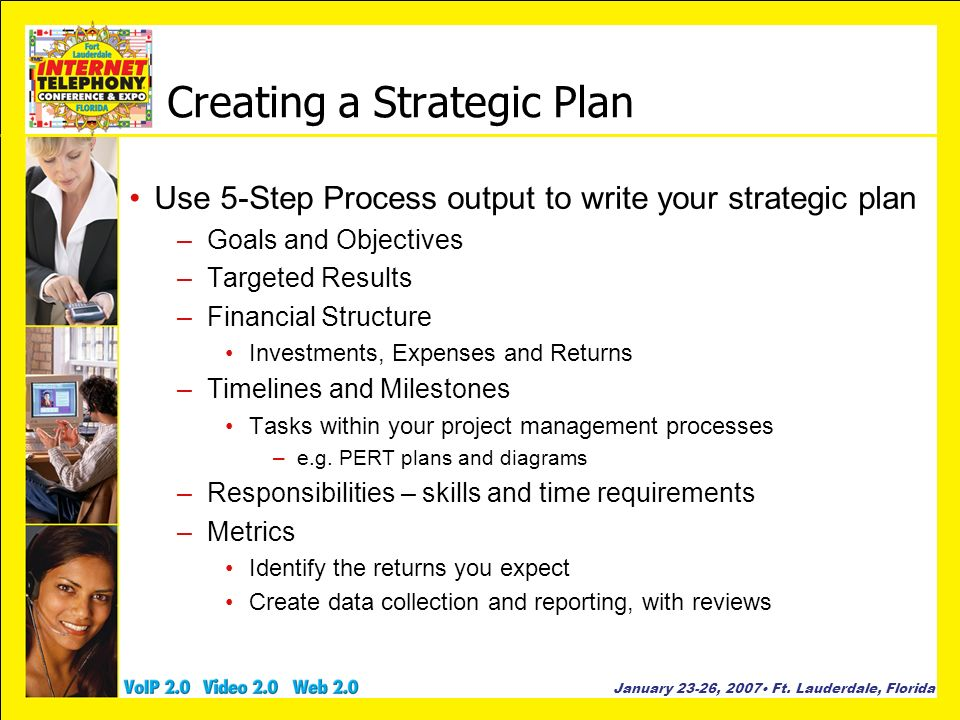 January 23-26, 2007 Ft. Lauderdale, Florida Creating a Strategic Plan Use 5-Step Process output to write your strategic plan –Goals and Objectives –Ta