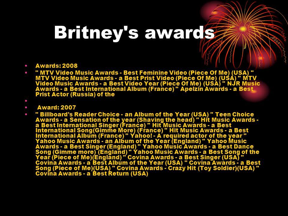 Britney's awards Awards: 2008