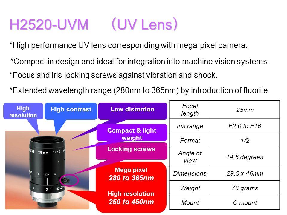 H2520-UVM UV Lens H2520-UVM UV Lens *High performance UV lens corresponding with mega-pixel camera. High resolution High contrastLow distortion *Exten