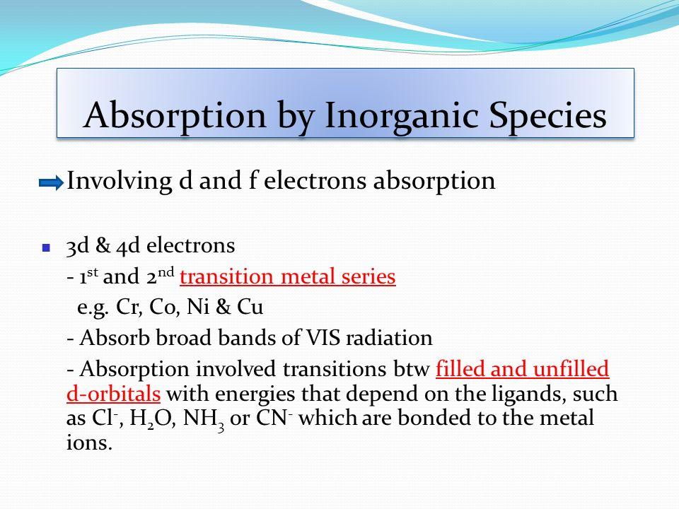 Absorption by Inorganic Species Involving d and f electrons absorption 3d & 4d electrons - 1 st and 2 nd transition metal series e.g. Cr, Co, Ni & Cu