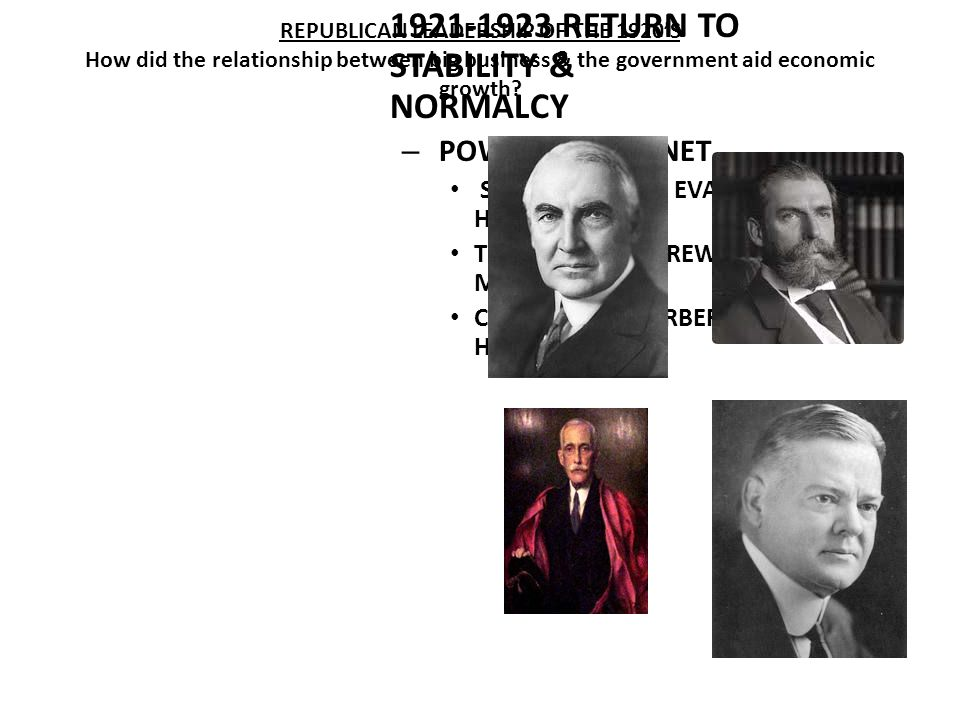 WARREN G. HARDING 1921-1923 RETURN TO STABILITY & NORMALCY – POWERFUL CABINET STATE – CHARLES EVANS HUGHES TREASRUY – ANDREW MELLON COMMERCE – HERBERT