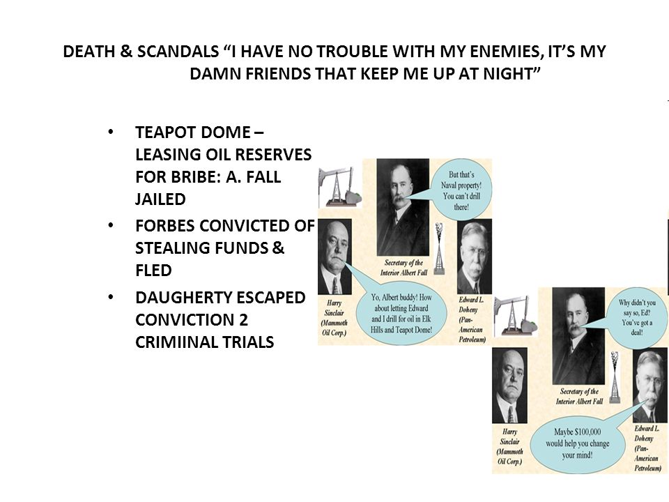 DEATH & SCANDALS I HAVE NO TROUBLE WITH MY ENEMIES, ITS MY DAMN FRIENDS THAT KEEP ME UP AT NIGHT TEAPOT DOME – LEASING OIL RESERVES FOR BRIBE: A. FALL