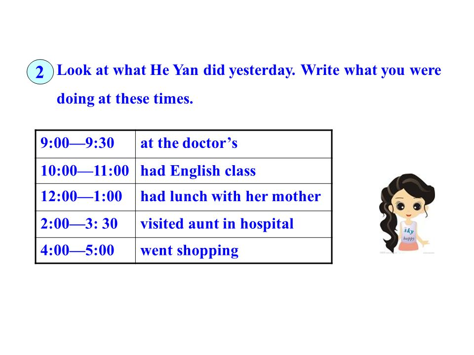 Look at what He Yan did yesterday. Write what you were doing at these times. 9:009:30at the doctors 10:0011:00had English class 12:001:00had lunch wit