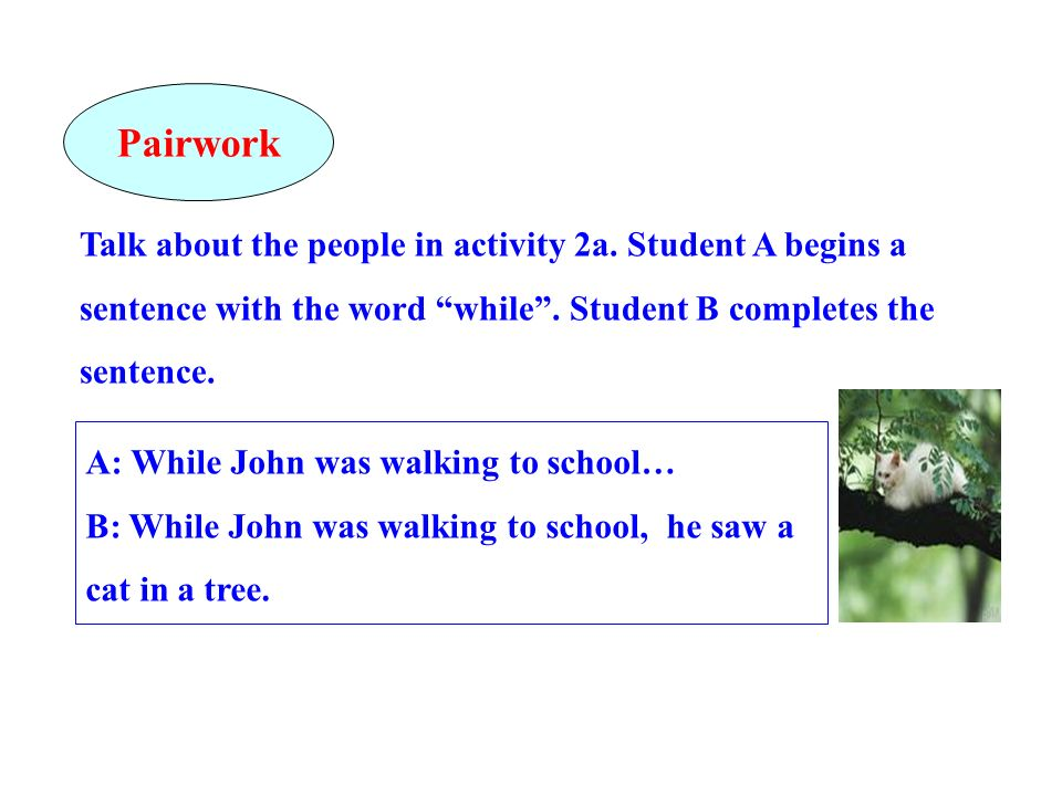 Talk about the people in activity 2a. Student A begins a sentence with the word while. Student B completes the sentence. A: While John was walking to