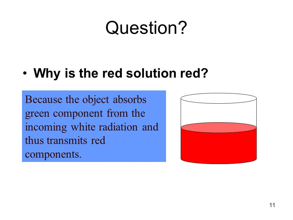 11 Question? Why is the red solution red? Because the object absorbs green component from the incoming white radiation and thus transmits red componen