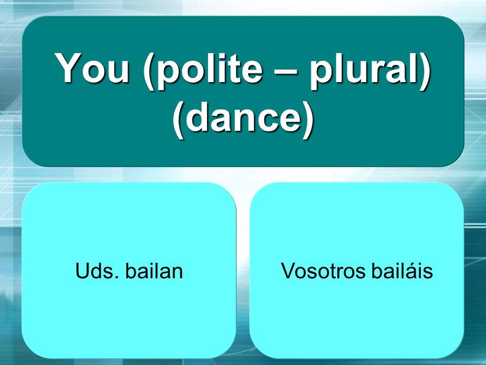 you (M - friendly – pl) study (estudiar) vosotros estudáis Uds. estudian
