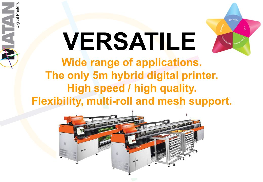 VERSATILE Wide range of applications.The only 5m hybrid digital printer.