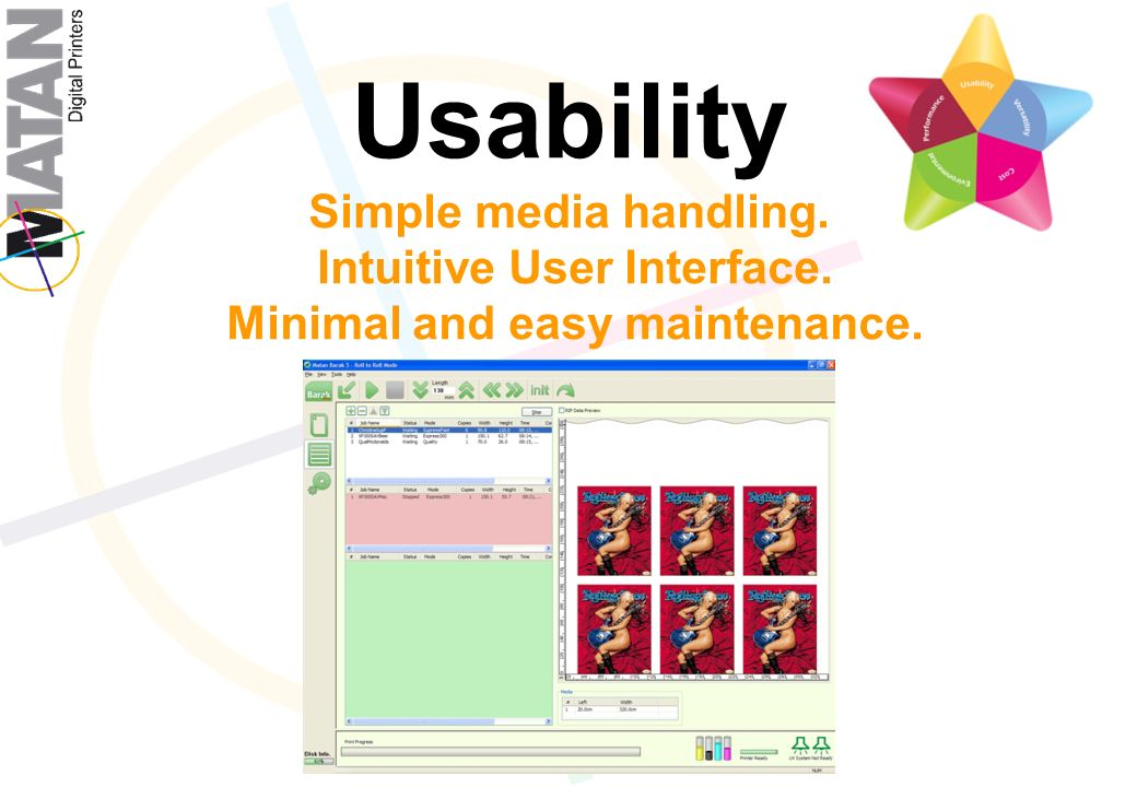 Usability Simple media handling. Intuitive User Interface. Minimal and easy maintenance.