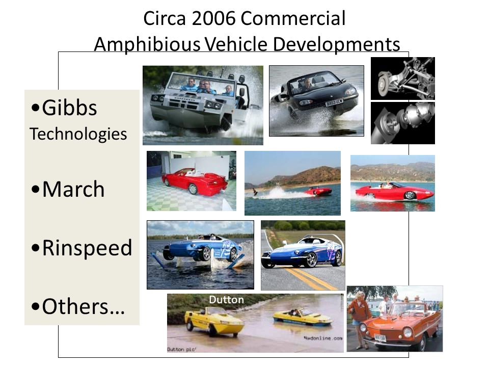 Circa 2006 Commercial Amphibious Vehicle Developments Gibbs Technologies March Rinspeed Others… Dutton
