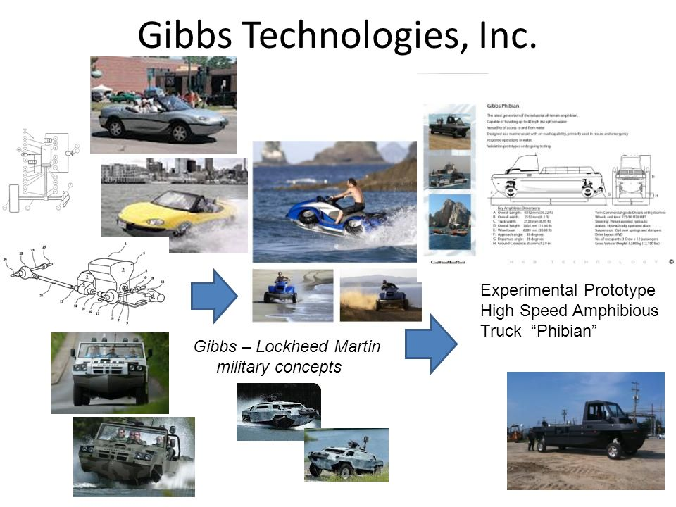 Gibbs Technologies, Inc. Gibbs – Lockheed Martin military concepts Experimental Prototype High Speed Amphibious Truck Phibian