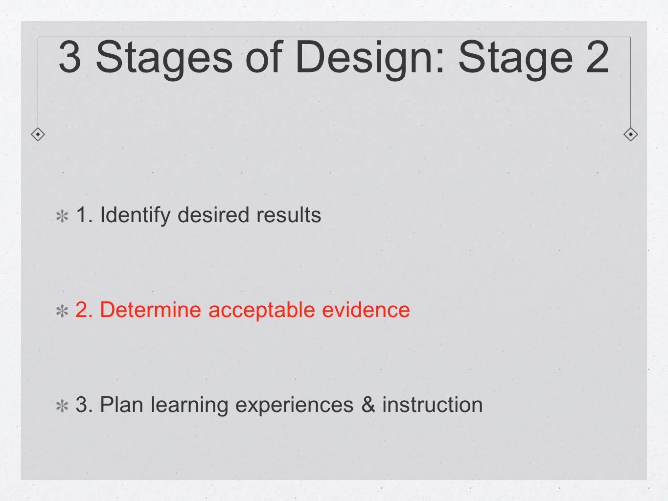 3 Stages of Design: Stage 2 1. Identify desired results 2.