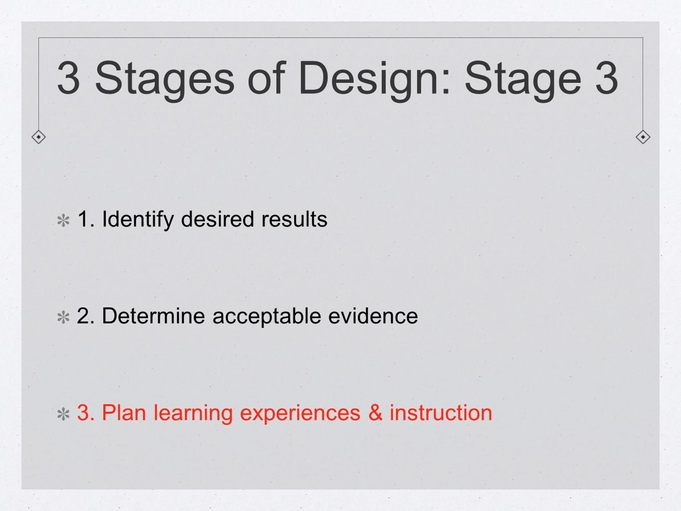 3 Stages of Design: Stage 3 1. Identify desired results 2.
