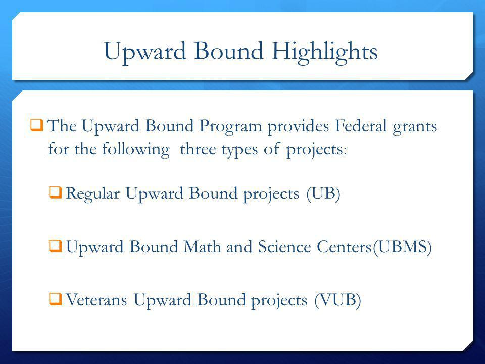 Upward Bound Highlights The Upward Bound Program provides Federal grants for the following three types of projects : Regular Upward Bound projects (UB
