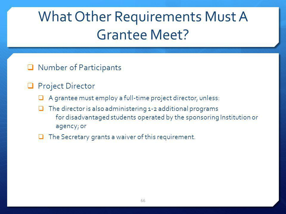 What Other Requirements Must A Grantee Meet? Number of Participants Project Director A grantee must employ a full-time project director, unless: The d