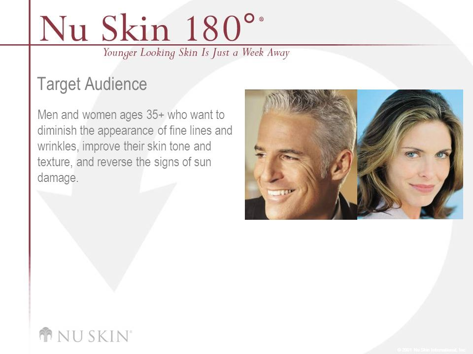 © 2001 Nu Skin International, Inc Target Audience Men and women ages 35+ who want to diminish the appearance of fine lines and wrinkles, improve their