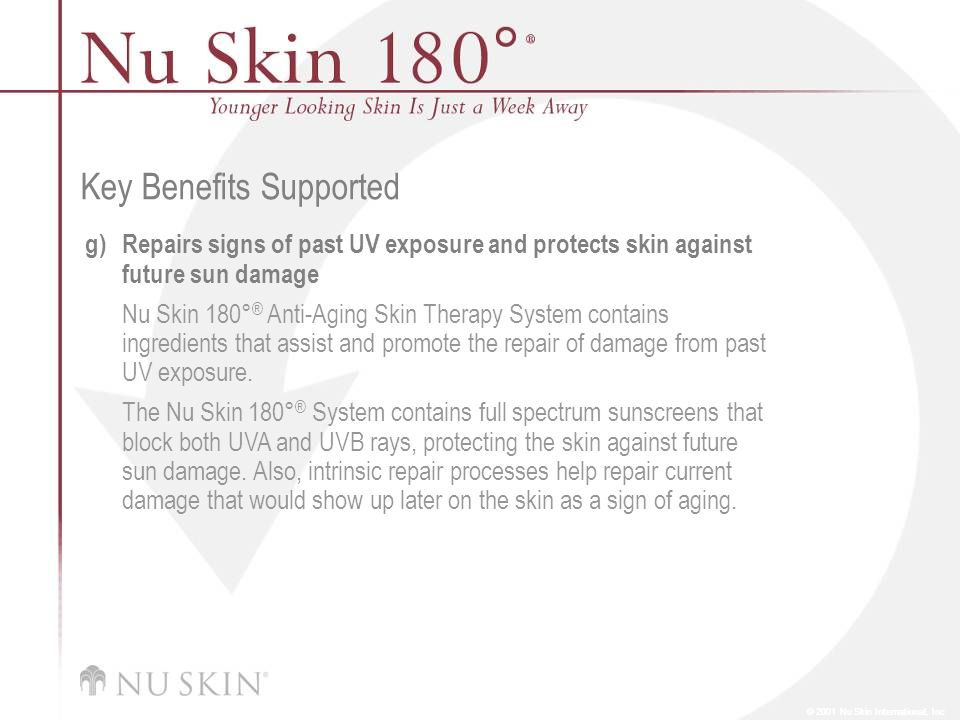 © 2001 Nu Skin International, Inc Key Benefits Supported g)Repairs signs of past UV exposure and protects skin against future sun damage Nu Skin 180°