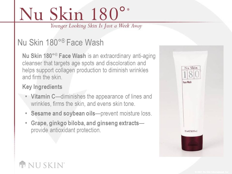 © 2001 Nu Skin International, Inc Nu Skin 180° ® Face Wash Nu Skin 180° ® Face Wash is an extraordinary anti-aging cleanser that targets age spots and