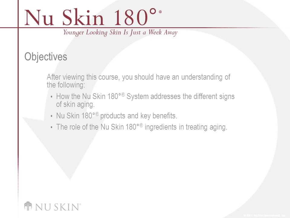 © 2001 Nu Skin International, Inc Objectives After viewing this course, you should have an understanding of the following: How the Nu Skin 180° ® Syst