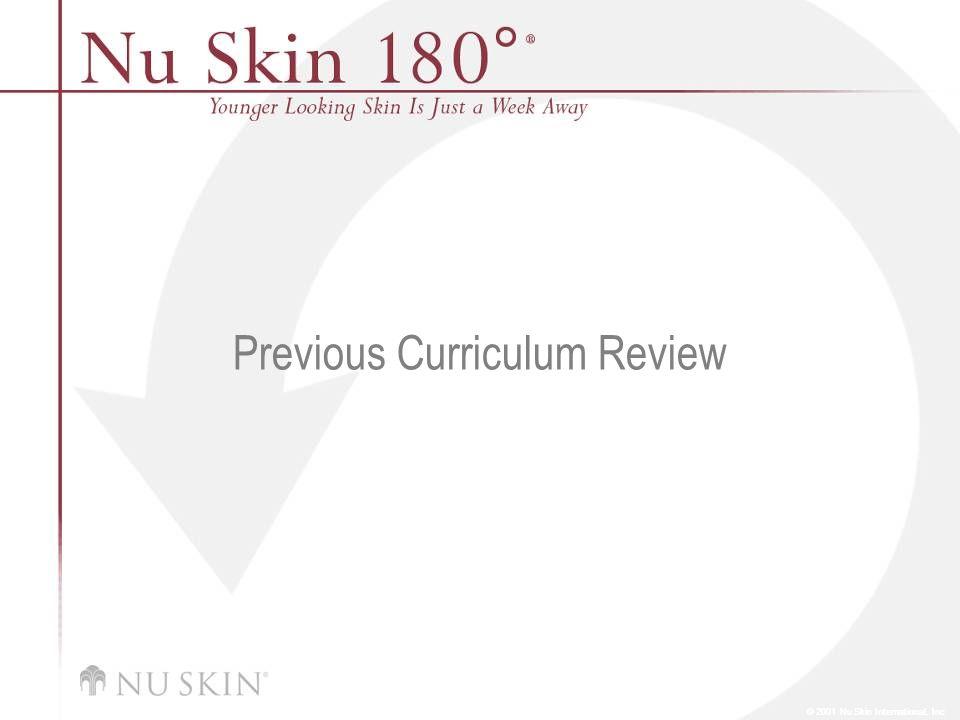 © 2001 Nu Skin International, Inc Previous Curriculum Review
