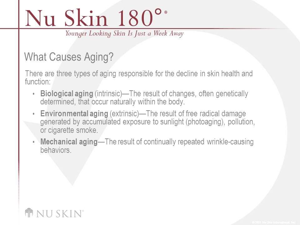 © 2001 Nu Skin International, Inc What Causes Aging? There are three types of aging responsible for the decline in skin health and function: Biologica