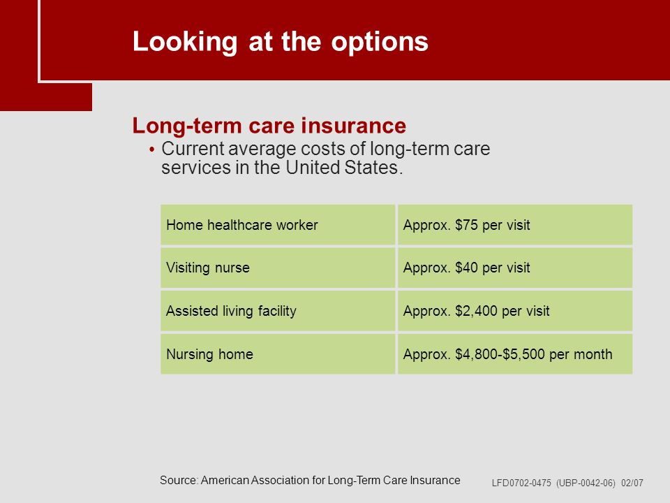LFD0702-0475 (UBP-0042-06) 02/07 Looking at the options Long-term care insurance Current average costs of long-term care services in the United States.