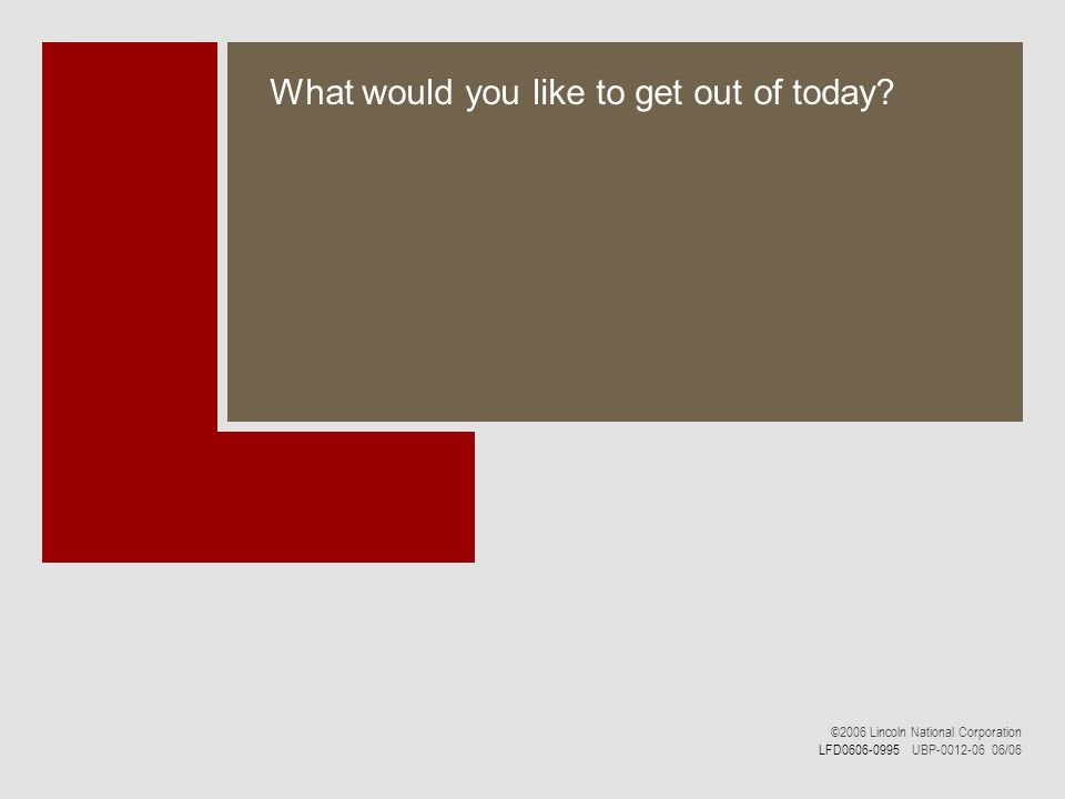 What would you like to get out of today? ©2006 Lincoln National Corporation LFD0606-0995 UBP-0012-06 06/06