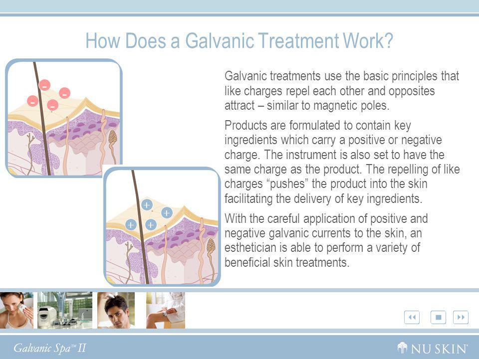 How Does a Galvanic Treatment Work? Galvanic treatments use the basic principles that like charges repel each other and opposites attract – similar to