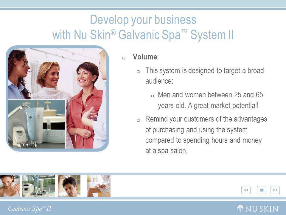 Develop your business with Nu Skin ® Galvanic Spa System II Volume : This system is designed to target a broad audience: Men and women between 25 and