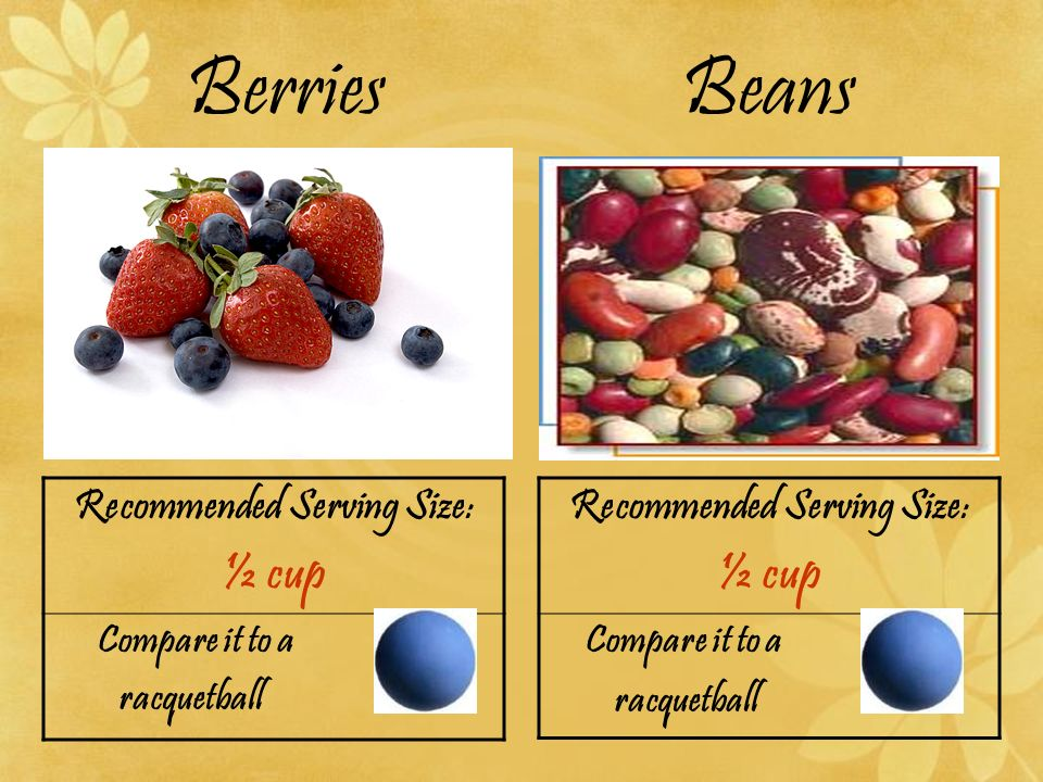 Berries Beans Recommended Serving Size: ½ cup Compare it to a racquetball Recommended Serving Size: ½ cup Compare it to a racquetball