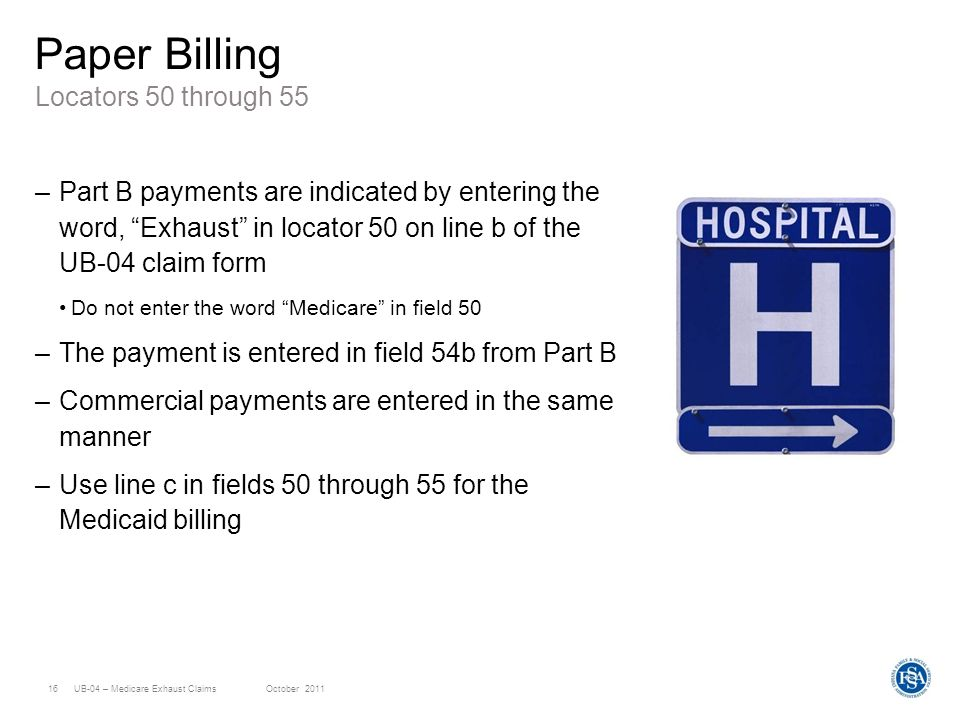 Hp Provider Relations October  Ub Medicare Exhaust Claims