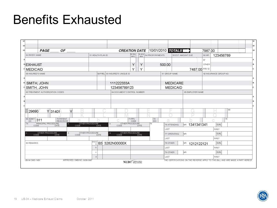 UB-04 – Medicare Exhaust ClaimsOctober 201119 Benefits Exhausted