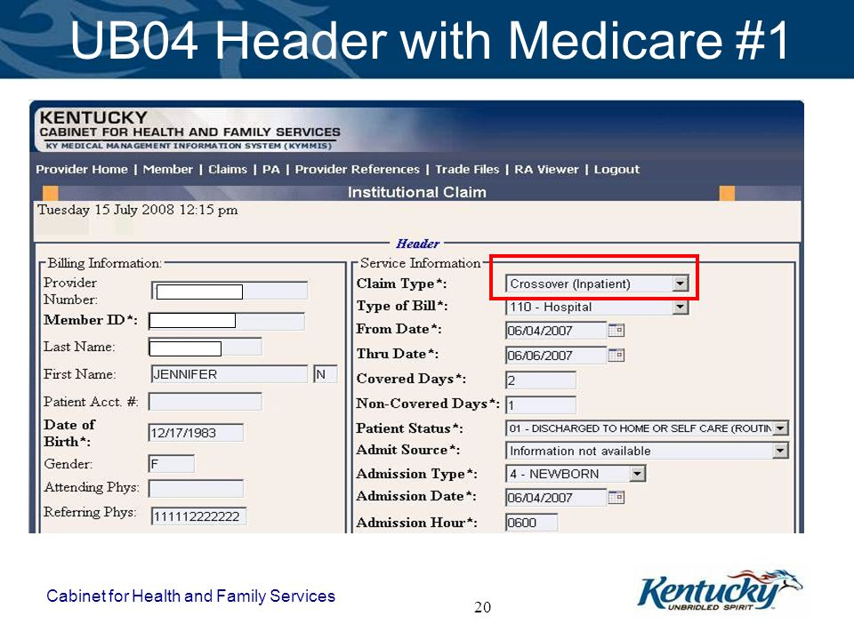 Cabinet for Health and Family Services 20 UB04 Header with Medicare #1