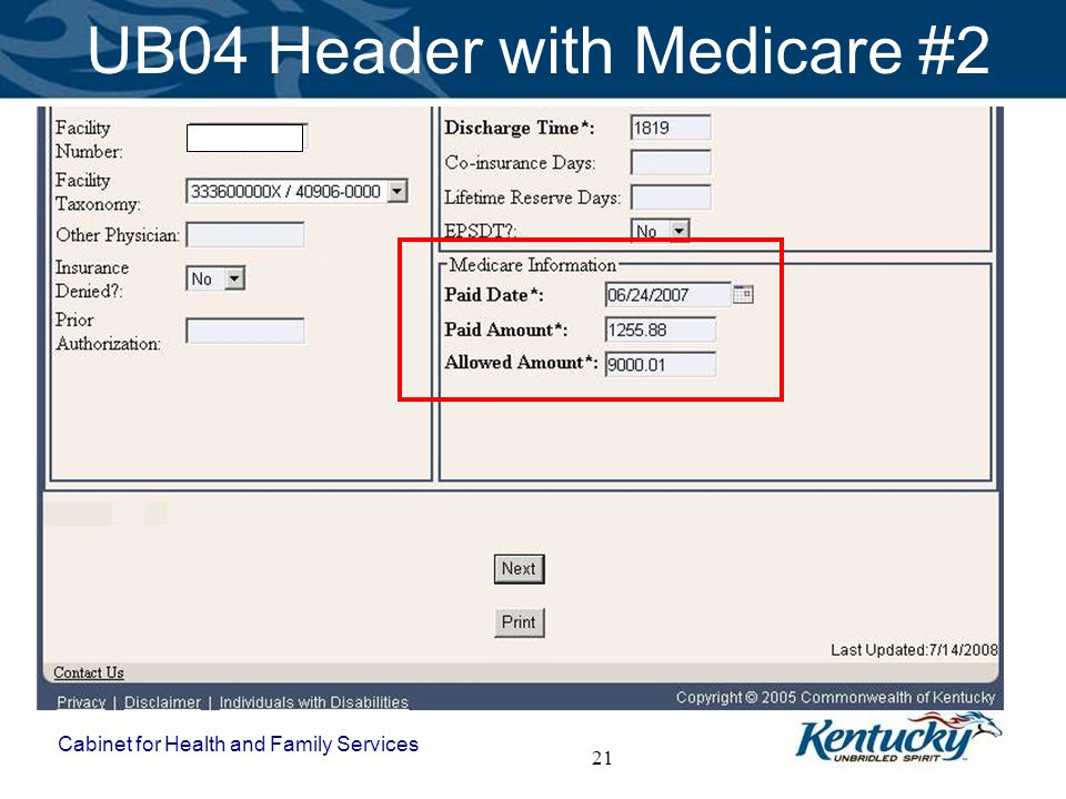 Cabinet for Health and Family Services 21 UB04 Header with Medicare #2