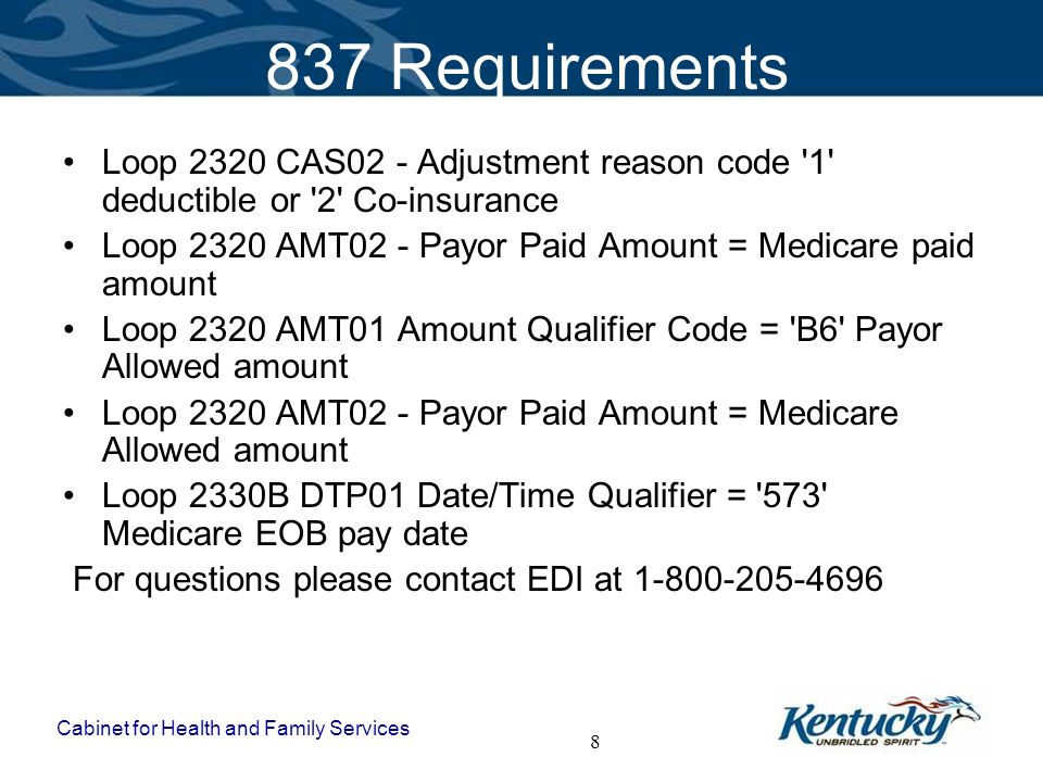 Cabinet for Health and Family Services 8 837 Requirements Loop 2320 CAS02 - Adjustment reason code '1' deductible or '2' Co-insurance Loop 2320 AMT02