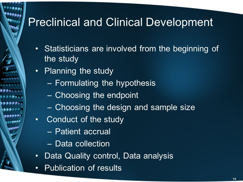 Preclinical and Clinical Development Statisticians are involved from the beginning of the study Planning the study –Formulating the hypothesis –Choosi