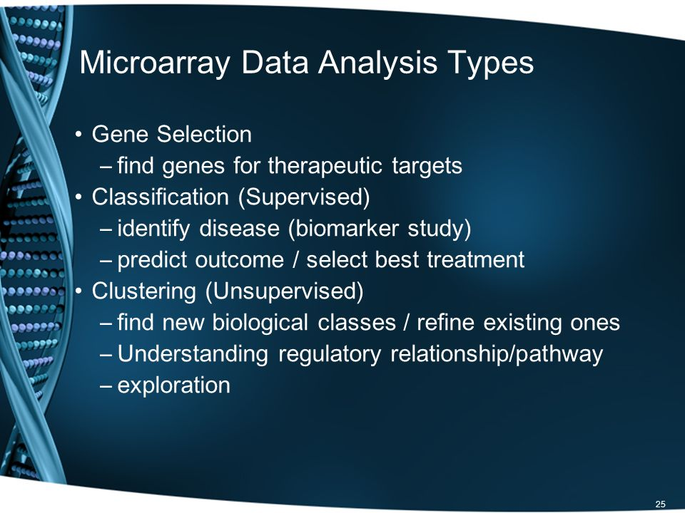Microarray Data Analysis Types Gene Selection –find genes for therapeutic targets Classification (Supervised) –identify disease (biomarker study) –pre