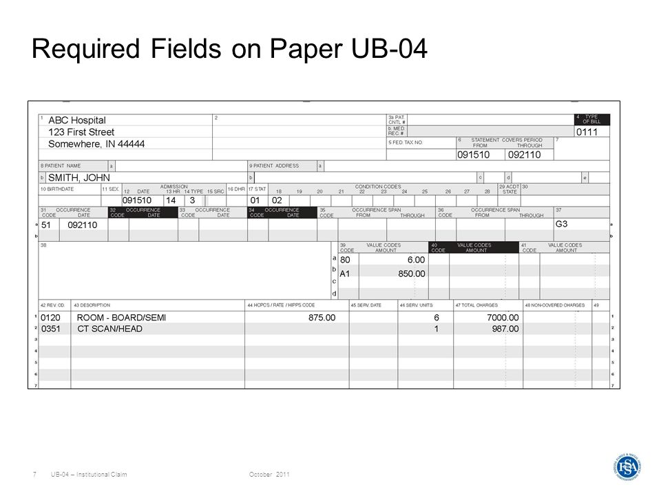 UB-04 – Institutional ClaimOctober 20117 Required Fields on Paper UB-04